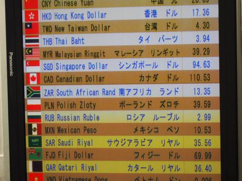 関空での両替<br /><br />私は神戸・三ノ宮の高架下で、19・55で、両替しておきました<br />吉と出るか?!<br />結局、円安が進み過ぎて、深センでの両替も、対して変わりませんでした