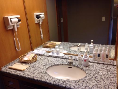 洗面所。清潔感があり、アメニティーも充実してました。