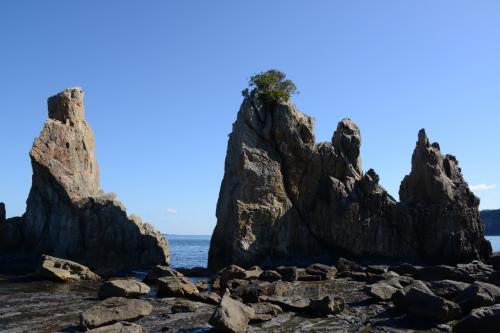橋杭岩。 <br /><br />左=小オガミ岩 <br />右=ピシャンコ岩。<br />土のない、こんな岩場の上にも植物が!<br />