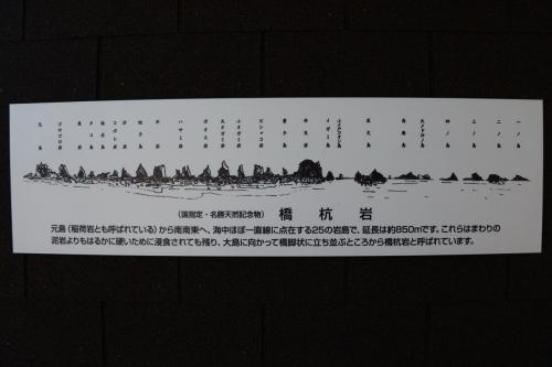 橋杭岩には、名前が付けられている。<br />元島・ゴロゴロ岩・黒岩・タコ島・海老島・コポレ岩・折岩・蛙子島・平岩・ハサミ岩・ポオス岩・大オガミ岩・小オガミ岩・ピシャンコ岩・童子島・弁天岩・イガミ島・小メ戸コオシ島・辰欠島・馬乗島・大メド沖ノ島・四ノ島・三ノ島・二ノ島・一ノ島<br />