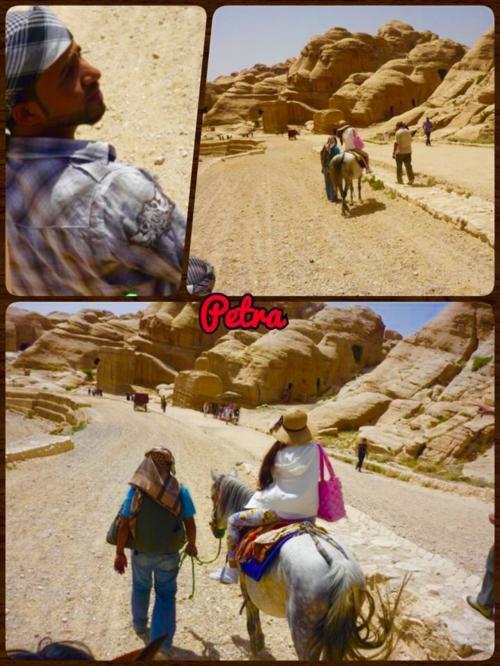 ペトラ着いたらもう2時間しか滞在なかった…<br />馬に乗ってペトラの入口までいきました<br />それでもけっこう遠い〜