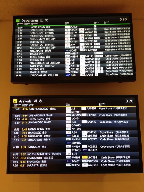 <br />気づけば有休が2日程余ってしまいそうだった。 「お〜、それはモッタイナイ」と思ってどこかに出かけることに。とりあえず思いついたのは美味いもんを食うために台湾。ところがどっこい休みが取れそうな日にちと安いチケットは当然かち合わず。しょうがないので次に思いついたのは「香港」。 と、エアチケットを探していたら、ちょうどHKエクスプレスで安めのチケットを発見。とりあえず計画も特に無いまま、香港行きチケットを取ってしまったのだ。とりあえず美味いもんでも食えればいいかぁ〜的に出かけた香港旅。 <br /><br />そんなこんなで、早朝3時過ぎに羽田に到着。実は HKエクスプレスに乗るのは今回が初めて。んで、チケットを取るときのWebサイトの注意書きには3時間前からチェックイン開始で1時間前には搭乗開始とある。「いつもより1時間ぐらい早めだなぁ〜」と思いつつも、何らかのトラブルとかが発生して乗れなかったりしたら嫌なので、素直に3時間前くらいに空港に来た。 <br /><br />羽田は建前上は24時間空港ですが、実際は1時過ぎに最終便があって、そこから6時ぐらいまでは飛んでいる飛行機は無い。んで、その最初の飛行機が我々の乗ろうとしているHKエクスプレスだった。 <br /><br />ということで、出発便一覧の電光掲示板の一番上にHKエクスプレスの便名が表示されている。 <br />
