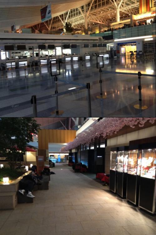 早速チェックインカウンターに行ってみる。と、すでにチェックインは始まっていたが、チェックイン作業をしていたのは、HKエクスプレスのみ。他のカウンターは完全に閉まっていて静かなもんだった。 <br /><br />羽田空港のイケテないところは、24時間空港といえども羽田までの公共交通機関も止まってしまうところ。みんな行き場が無くその辺のベンチで寝ている人が多数いた。 <br />