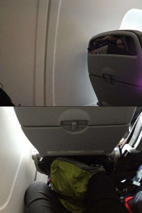さて、小さく搭乗レポートになってしまうが、機内は普通のLCCと同じ感じの空間で特に可も無く不可もなくって感じ。香港ぐらいまでの飛行時間だったらどうせ寝てしまうので特に問題ないって感じ。 <br /><br />ただし、自分は一番後ろの席を取ってしまったんだが、一番後ろの席には窓が無く外の景色は全く見えない。わざわざ窓側の席を取った意味が全く無いので注意が必要。とは言え、飛行中はまぶしいのでず〜とブラインドを下ろしているので基本的には問題ないのだが、「いよいよ離陸か?!」とか「そろそろ着陸するな!」とかいう心構えが全く出来ない。 <br /><br />あと、日本から帰る香港人とかが多くて、みんなの手荷物は多め。ということで上の棚は一杯となり、乗務員に我々が持っていたバックパックを「足元に置け」というビックリ指示を受ける。 <br /><br />バックパックぐらいの大きさを足元に置いたら、普通の飛行機では怒られるでしょ!とか思いつつも、結果的にキツキツの状態で香港まで飛ばなくてはならないという結果となった。 <br />