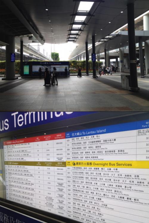 エアポートエクスプレス乗り場を右に進んで真っ直ぐ行くと、バスターミナルに出る。正面にはバス路線番号と停車するバス停とかが書いてあるので親切。この辺は「地球の歩き方」に結構詳しく書かれているので事前に読んでおくとスムーズにいく。 <br />