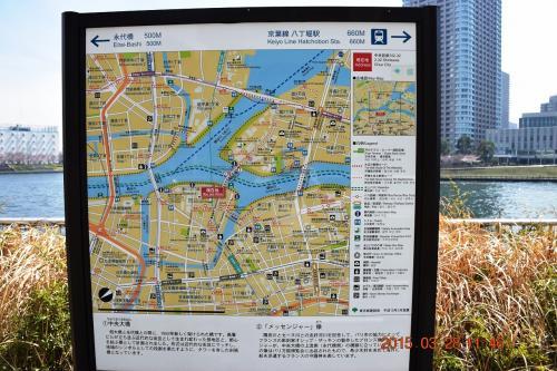 亀島川を渡って再び隅田川テラスに出ます。<br /><br />次の4つ目の永代橋まで500mです。