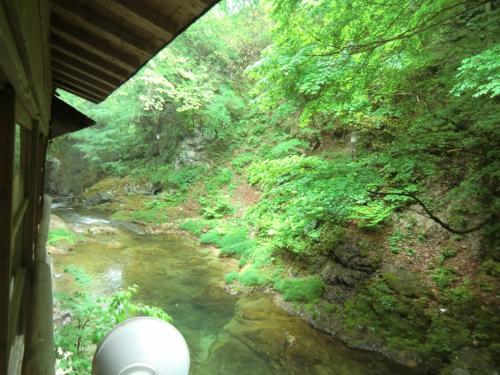 緑美しい渓流。<br /><br />川音を聞きながら入る岩風呂は最高です!