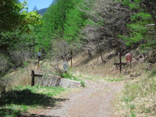 駐車場から35分程で、林道の分岐。<br />石垣の下に、歩を進めます。<br /><br />羽衣池からはここで合流。