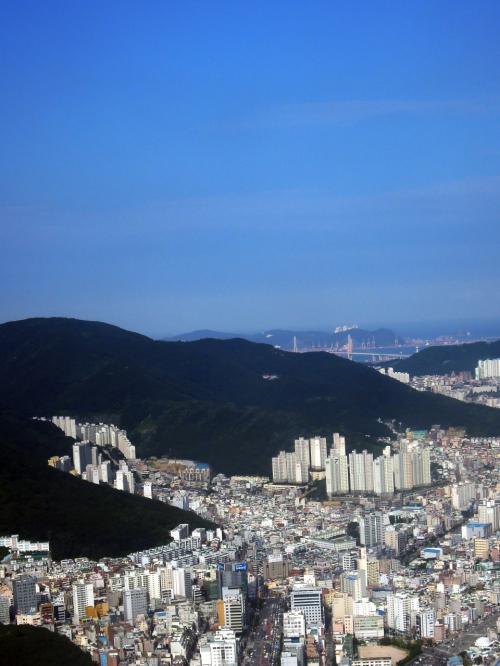 40分位のフライトで釜山の街並が<br />見えて来た<br />釜山は快晴!