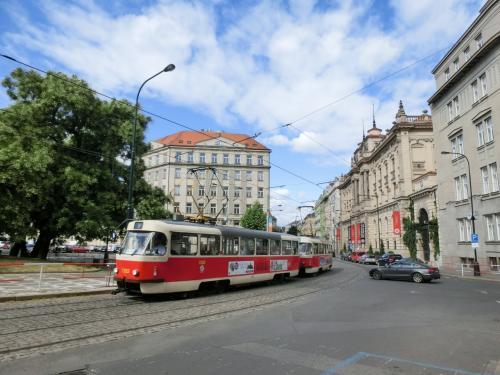公園を抜けると電車通りになり、プラハらしい古風な建物が現れる。そこに路面電車(トラム)が走る。いい感じ〜。