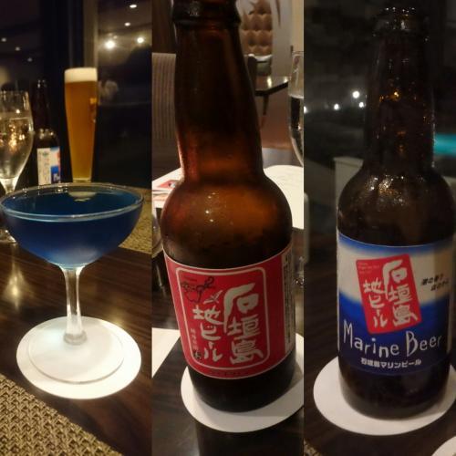 夕食は、館内の『アマンダ』にて。<br />オススメのカクテルと地ビール。