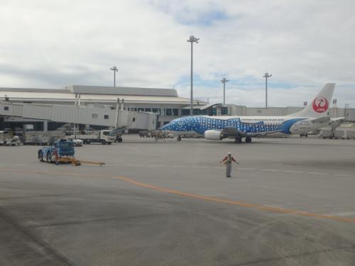 飛びたつ数日前まで台風24号がフィリピン付近で停滞していたので沖縄方面への影響を懸念していましたが、当日はすっかり晴れてくれました。<br /><br />おかげでフライトは順調で、那覇空港でのJAL903便→JTA607便という乗り継ぎ時間25分(!)というカツカツスケジュールでも乗り遅れることなく石垣空港へ向かうことができました。