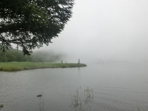 しかし、霧にかすむ女神湖(写真)は幻想的でなかなか良い。傘をさしながら歩いて女神湖を一周する。