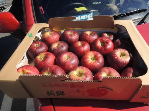 これは、前日、原村のスーパーで購入したりんご。西日本で売られているりんごよりも赤いのでびっくり。