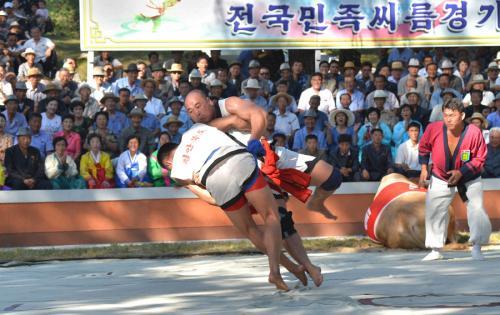 朝鮮相撲の特徴は土俵に出ても負けではありません。<br />相手に膝をつかせれば勝利です。要はぶっ倒すしかありません。