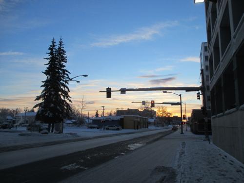 ダウンタウンからホテルに戻っているところです。綺麗に晴れていました。