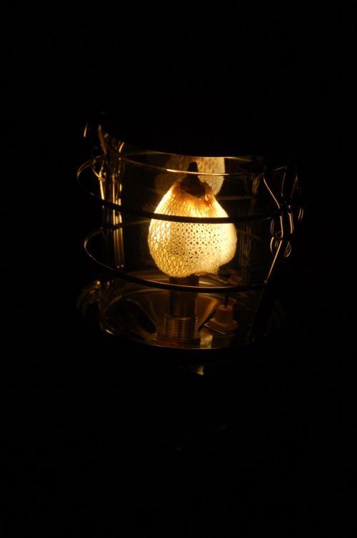 しかし、使っているうちに、灯油が漏れて、炎上してしまった。これは、炎上したあとの灯油ランタン。