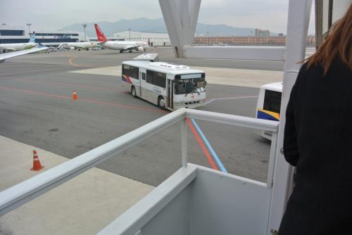 さくっと釜山到着。<br />タラップ降りてバスで移動です。<br /><br />アシアナのバスがぞくぞくと私たちを運びにきます。<br /><br />そういえばアシアナ系なんでしたっけ〜。