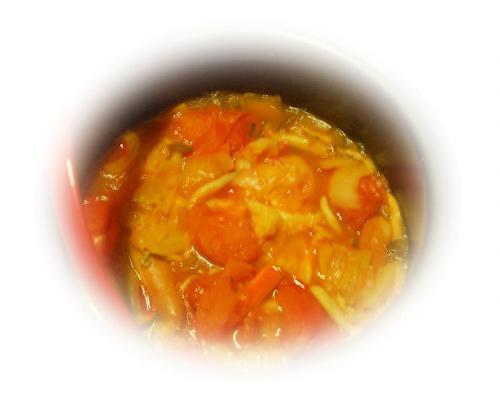 おかずは、ガンモ作のトマト鍋。