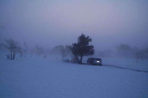 これが雪中キャンプで迎えた朝である。