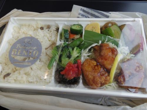 電車の中でお弁当を食べる。野菜たっぷりのから揚げ弁当@980円。