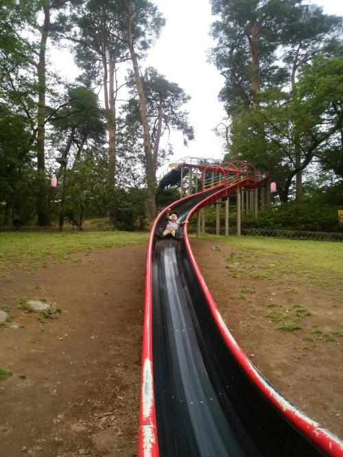遊園地の開園まで時間があるので<br />やっぱりこの長ーい滑り台。<br /><br />空いていたのでチビは7〜8回やってました。<br />上まで登るのも大変なのに、若いって凄い。<br /><br />