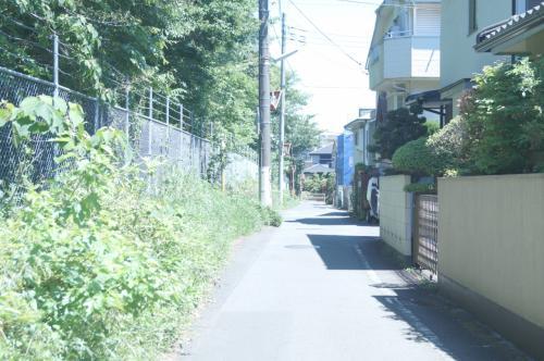 航空自衛隊基地の脇を歩くと昔から<br />あるような住宅地と狭い路地がある。<br /><br />車1台通るのがやっとの道路だが、<br />一方通行にはなっていない。<br /><br />住宅地内はすべてこんな感じの道路で、<br />まるで最近保育園の建設に強硬に反対<br />した千葉県市川市の住宅地に似ている。<br /><br />確かに、こんなところに空き地がある<br />からと言っていきなり保育園を作られ<br />ると、保守的な老人たちが多く住む場<br />所では、反対運動になるだろうな。<br /><br />左側のうっそうとした雑木林は、すで<br />に米軍基地跡である。<br /><br />