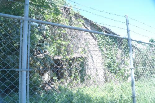 そのままどんどん歩いていくと、<br />このように草に覆われた建物が<br />いくつか見えてきた。<br /><br />いよいよ、米軍基地跡の始まりである。