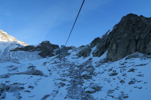 Rosaelリフトで Col de Rosael 3,000m地点を目指します。