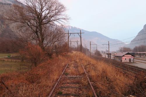 この路線はフランス鉄道のTERローヌ=アルプ鉄道に属していました。右が現役線です。