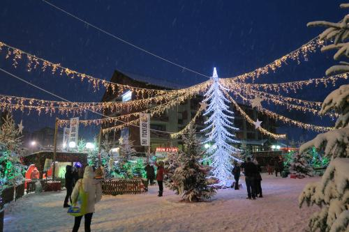 レデュザルプ(Les Duex Alpes)のリゾートビレッジの広場です。