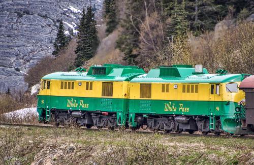 綺麗な カラーの 機関車が 引っ張ってくれます。<br /><br />相当長い車両ですが 頑張ってくれました〜