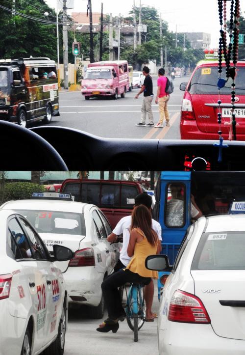 【フェリーターミナルへ向かう途中の車窓】<br />走る車の隙間を縫って道路を渡る人。これも普通の光景です。<br />対向車線に走っているのはジプニー(乗合タクシー)です。<br />スリなどもいるので乗らない方がいいと言われているジプニーです。<br /><br />娘は最初は友人らとしか乗らなかったジプニーですが、今ではひとりで乗っているそうです。しかも、助手席に乗せてもらうとか。(爆)<br /><br />【自転車2人乗り】<br />渋滞の車の間を自転車2人乗りで走るカップル。<br />見慣れてくると、これも当たり前の光景だったりするセブシティです。