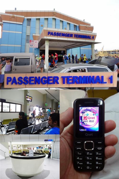 【フェリーターミナルPIER1(ピヤワン)】<br />ターミナル1、ここから入ります。<br />入ると空港のセキュリティチェック並のチェックがあります。<br />問題なくスルーです。<br />入っても、ツアーですから中でも案内してくれる人がおります。<br /><br />【奥は涼しい】<br />フェリーの乗船旅客ゲート付近は混んでエアコンの効きも悪いですが(写真中央左)、奥の案内カウンター(左下)の先は、空いておりエアコンも良く効いてます。<br /><br />【携帯電話が安い880円】<br />海外では、高額の通信代金請求がくると怖いのでiPhoneのデータローミングをoffにしてます。<br />ですから、事前に安いsimフリー携帯を娘に買っておいてもらいました。<br />娘との連絡用にです。<br />購入してもらったのは『アヤラモール』でです。<br />・simフリー携帯本体 400ペソ(880円)<br />・simカード 35ペソ(77円)<br />・ロード 150ペソ(330円)<br />(ロードは携帯が使えるようにお金をチャージすることです。プリペイド携帯みたいなものです。)<br />計585ペソ(1287円)です。安いです。<br />スマホは盗難が多く狙われやすいのですが、これなら狙われません。(笑)<br /><br />【WiFi】<br />WiFiが繋がっていればラインで会話ができますが、娘はモバイルWiFiを持っていないので、WiFiが繋がらない場所での会話あるいは、メールはこの携帯に頼ります。<br />ちなみに、メールのことをフィリピンでは『テキスト』といいます。<br />もちろん、この携帯では日本語は打てないので会話のみに使用しました。<br /><br />【モバイルWiFi】<br />今回フィリピンのモバイルWiFiは、<br />『グローバルWiFiの超大容量プラン速度:4G 利用可能データ量:1GB/日』を1台のみレンタルしました。1日1370円と安くないですが、一緒の時は4人でフルに使えました。ラインを通じての写真の転送にも便利です。<br />