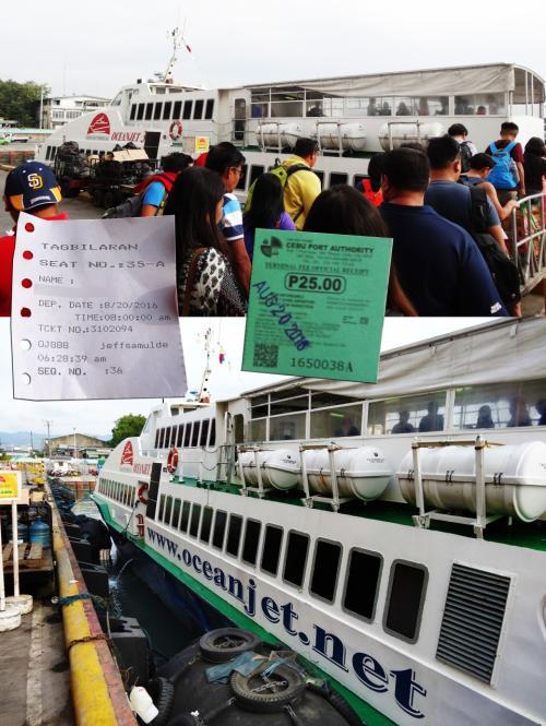 【ボホール島タグビララン港に向けて出発】<br />乗船旅客ゲートから出てオーシャンジェットの高速艇に乗り込みます。<br /><br />【チケット】<br />白いのが高速艇チケット<br />緑色の紙はセブ港利用税25ペソの半ぺらです。<br /><br />