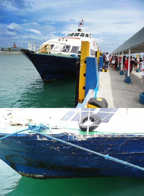 【ボホール島タグビララン港到着】<br />高速艇はタグビララン港に到着。外の暑さが冷え切った体を包み込みます。(笑)<br /><br />【傷む船体】<br />高速艇の船体を外からよく見るとポコポコです。<br />大丈夫なんですかね〜
