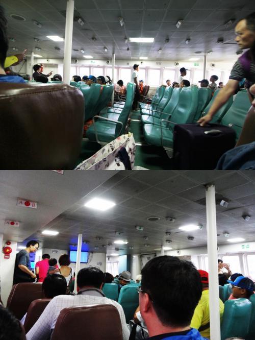 【満席】<br />写真は乗船中のものですが、席は満席で出発しました。<br /><br />【冷房が強い】<br />冷房はかなり強いとクチコミもあり、羽織るものとしてコンパクトレインコートを持参してました。<br />船内はクチコミ通りの寒さでした。<br /><br />【羽織るレインコート取られる】<br />ところが私のレインコートはすでに相方のひざ掛けになっており、相方は完全防寒対策済。私は寒いまま2時間の船旅となりました。