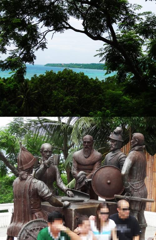 【後ろの景色が美しい】<br />ここは高台にあるので景色もきれいです。<br />北を向いてます。<br />パングラオ島の一部が見えています。<br />この左手にはパミラカン島も見えます。<br /><br />【記念撮影の列が・・】<br />ここも、記念撮影をする人々が群がり像だけ撮影するのも不可能でした。<br />ですから、我々も記念撮影は止めて次に向かいました。