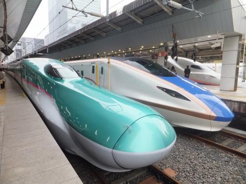 そんなわけで初めての「はやぶさ」号。E6型新幹線です。<br />隣にとまっている北陸新幹線用?の車両も乗ってみたいですね。