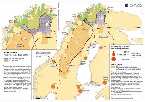 サーミ人の人口分布図(出典:nordregio.se)<br />サーミ人は現在 4つの国に別れて住み、人口は其々 Sweden:2万人、Norway:5万人、Finland:8千人、Russia:2千人と推測されている。その内、2,500人がキルナに住んでいる。<br />