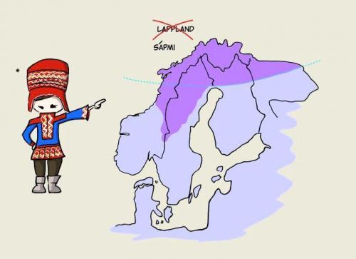 サーミ人は自分達の住んでいる土地を Lapland(ラップランド:スウェーデンではLapplandと綴る。)と呼ばれるのを快く思っていない。(資料の出典:travelingyourdream.com)