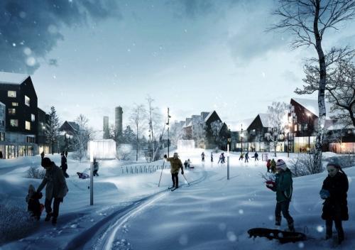 キルナの街<br />キルナは雪が多いため建物の屋根勾配は鋭角になっている。