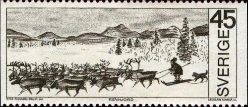 スウェーデンのトナカイを追うサーミ人をデザインした切手(Cariokakeita Museum蔵)