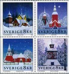 スウェーデン国発行の教会をデザインした切手(Cariokakeita Museum蔵)<br />左上が Kiruna Church(キルナ教会)国名に Sverigeと書かれている。正式名称は Konungariket Sverige(コーヌンガリーケト・スヴェリエ)。通称 Sverigeと略される。 Sverigeとは Svensk(スヴェーア族)の国の意。