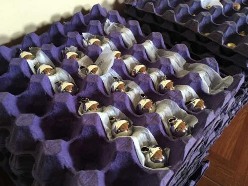 完成品。銀に見えますが、銅とニッケルの合金です。ここから、更に絵付けやレジンを施していきます。<br /><br />このままのものも人気があり、そのまま出荷もされます。宝石のように輝いています。<br /><br />宝石のように輝いています。<br /><br /><br /><br />