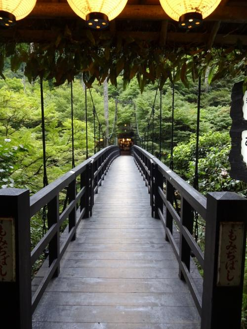 観光旅館の仲居さんにも『ああ小一時間程の散歩コースや』と軽く勧められる。<br />途中にあった割烹に渡る吊り橋や案内板、風情があってええなあ・・・<br />