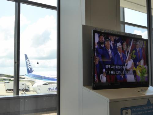 成田空港に集合。出発ロビーのテレビでは、ちょうどリオデジャネイロ五輪の開会式が生中継されてました。<br /><br />あ!これから行くスロベニアの代表が行進している!・・・カメラ、カメラ・・・とか探しているうちに画面はスペイン代表になってました(笑)。<br /><br />我々が乗る飛行機見えてます。
