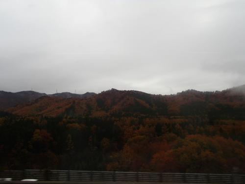 車窓から~雨が降ってます<br /><br />紅葉した山