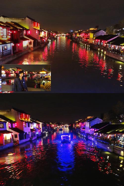 【『虹色の橋』から『清名橋』側を望む(広角)】<br />赤提灯の光などが水面に反射して美しいです。<br /><br />【遊覧船】<br />遊覧船の青い光が、周囲をほのかに照らしながら進みます。<br />しかし、撮影しているときは気づきませんでした。