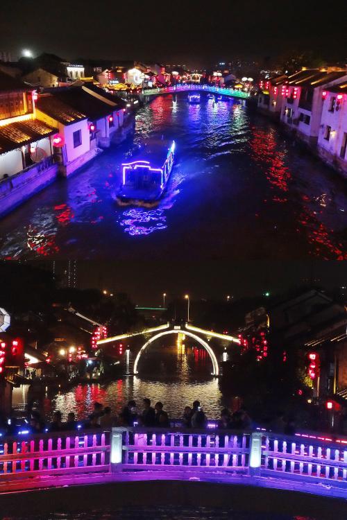 【金塘橋から虹色の橋を望む】金塘橋⇔虹色の橋 80m<br />水路に沿って、右側は『南長街』の通りで、左側には『南下塘街』というえ通りがあります。<br />手前に見えている『虹色の橋』は『南長街』と『南下塘街』を結ぶ『南下塘橋』です。この橋名前が実はわかりません。<br />『南下塘橋』らしいのです。<br /><br />【金塘橋から望遠で・・】虹色の橋(南下塘橋⇔清名橋 325m)<br />上の写真の橋をズームしたのが下の写真です。<br />『虹色の橋(南下塘橋)』には人がたくさん見えます。<br />奥に見える橋が『清名橋』です。<br />望遠ですから近くに見えますが、『虹色の橋(南下塘橋)』と『清名橋』間は325mあります。<br />